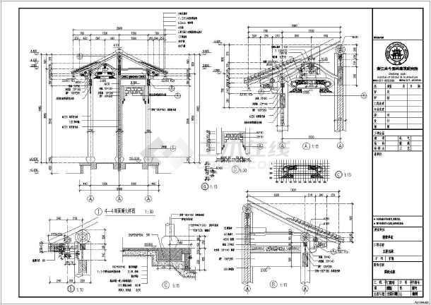 某单层歇山式木结构古建筑建筑施工图