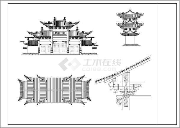 某学校特色仿古大门建筑施工设计图