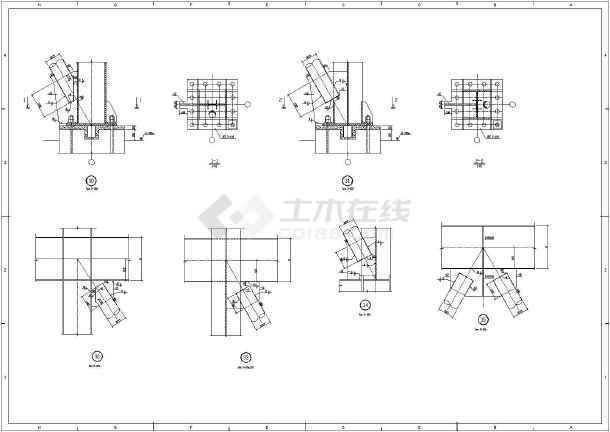 钢结构框架连接节点做法建筑构造图