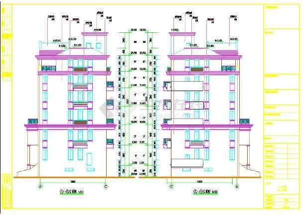 六层楼房cad设计图