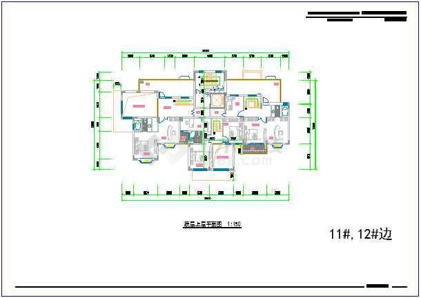 某高层住宅楼一梯三户80-120平方米户型图cad平面设计