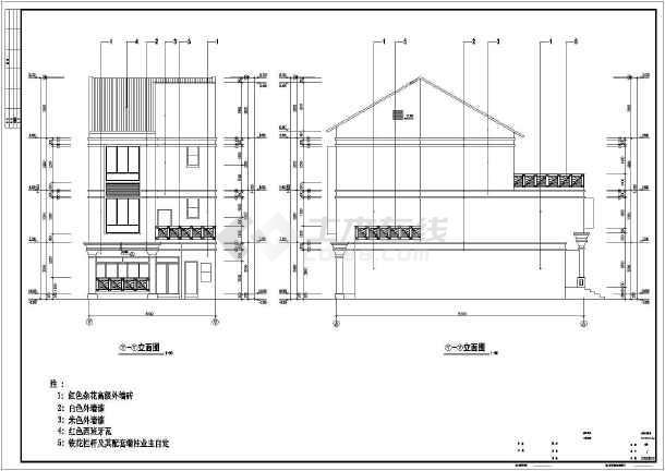 某地3层框架结构别墅建筑设计施工图