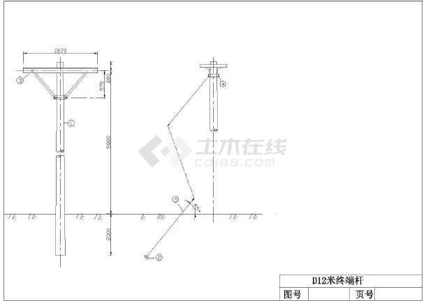 某地(10KV)图纸蜗杆水泥杆杆型图_cad多种下车v图纸高压图纸普