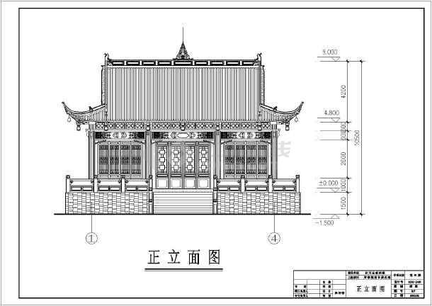 图纸 建筑图纸 古建筑设计 仿古建筑 汶川某单层框架结构大殿建筑施工