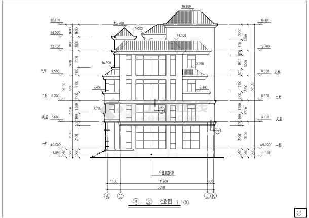 某地四层带别墅剑术建筑设计施工图(cad图纸下载)夹层花亚卓别墅破碎之图片