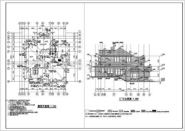 安徽某小区8#二层别墅会所建筑设计施工图_cad图纸