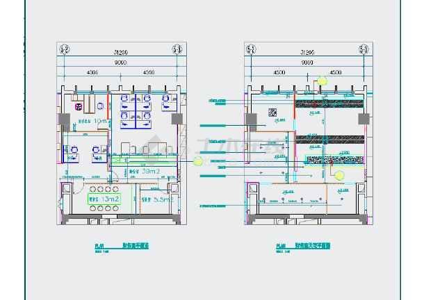 泽森办公室装修设计工程cad平面图纸虎弓水图纸图片