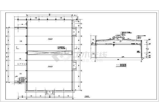 某地砼柱带抱箍牛腿钢结构厂房结构设计图