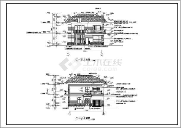 一层平面图,二层平面图,阁楼层平面图,屋顶平面图,入口正立面图,入口