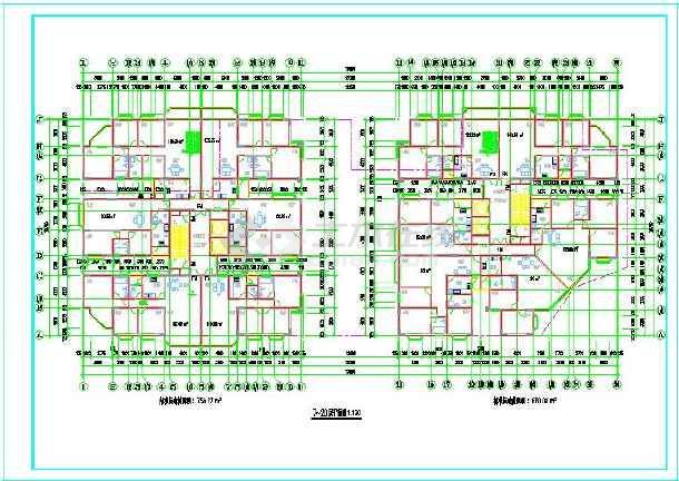 某26层双塔式1楼梯2电梯6户住宅楼建筑设计图