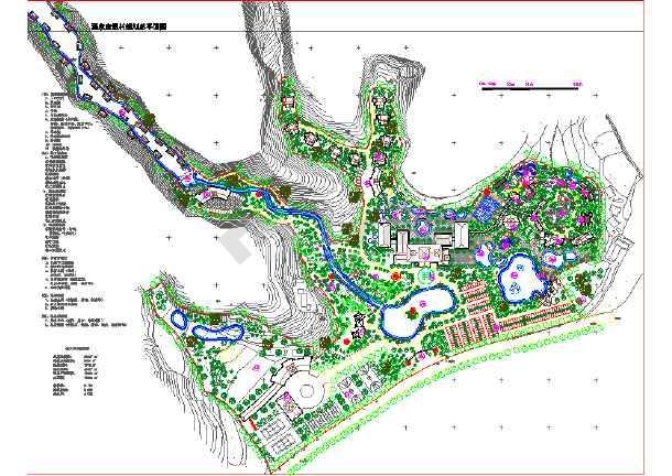 某地区大型温泉度假村规划总平面图图片1