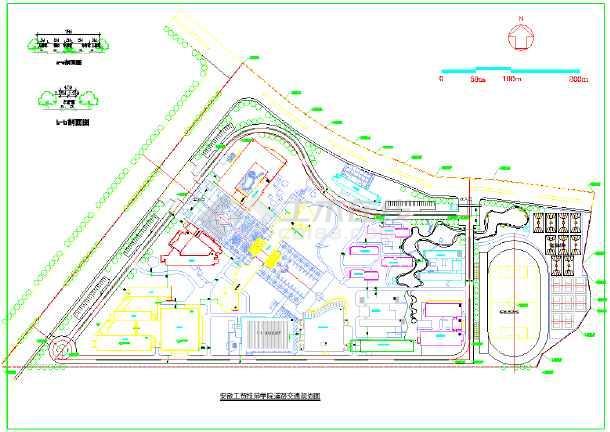 某地区工贸技师学院道路交通规划图图片1
