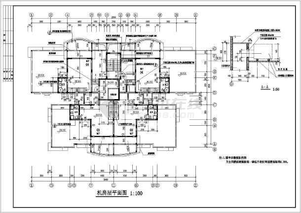 图纸内容包含:各层平面图,屋顶平面图,各立面图,各剖面图,核心筒大样