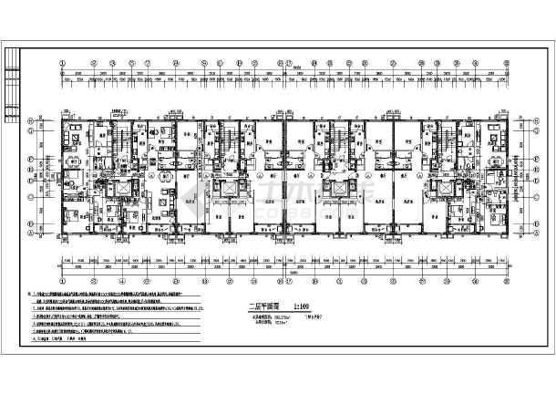 平面户型采用一梯两户,图纸包括了:各层平面布置图、立面图、剖面
