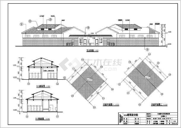 某公园单层框架结构公厕建筑施工图纸