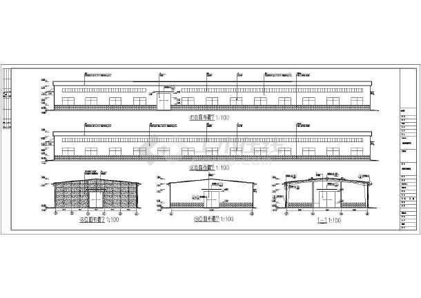 某轻型门式刚架结构汽车维修车间结构施工图(含建筑设计)