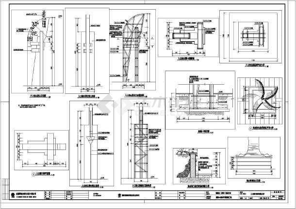 指示牌高约9米,为钢结构,图纸含平面图,正立面图,正立面配筋图,右立面