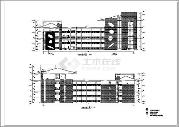 某地4层混凝土框架结构教学楼建筑施工图