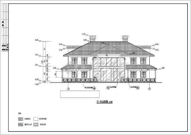 广东2层坡屋顶框架结构私人会所建筑施工图