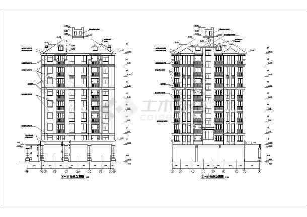 某地区8层剪力墙结构住宅楼建筑设计方案图,地下一层,底层前面为店面