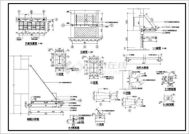 某建筑工程轻钢结构钢化玻璃雨棚结构施工图纸