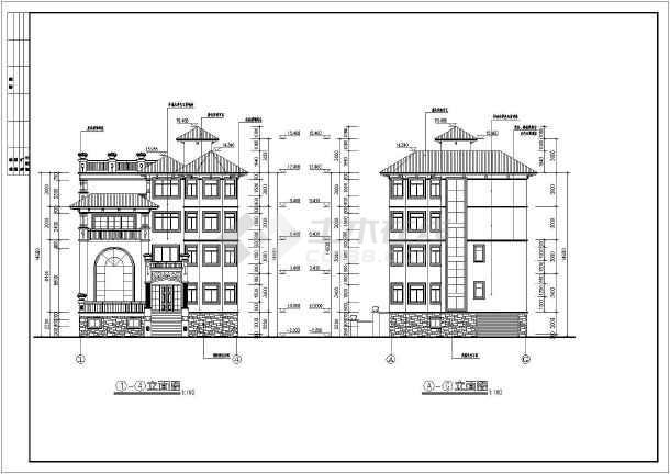 某4层豪华地中海风格别墅建筑施工图