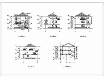 某农村三层砖混结构小别墅建筑设计施工图