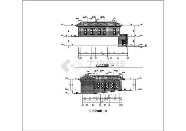 某地单层框架四合院仿古建筑设计施工图图片
