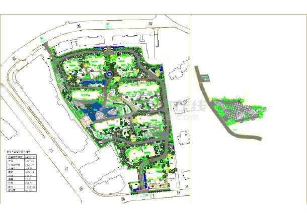 某居住社区环境设计图.地形较大,附主要经济技术指标.