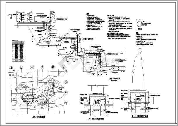 某地区景区雕塑水池结构设计详图(CAD)-图1