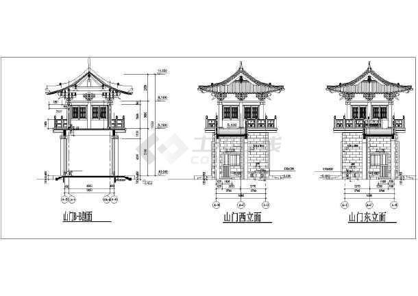 古代城门及山门建筑设计施工cad方案图纸图片