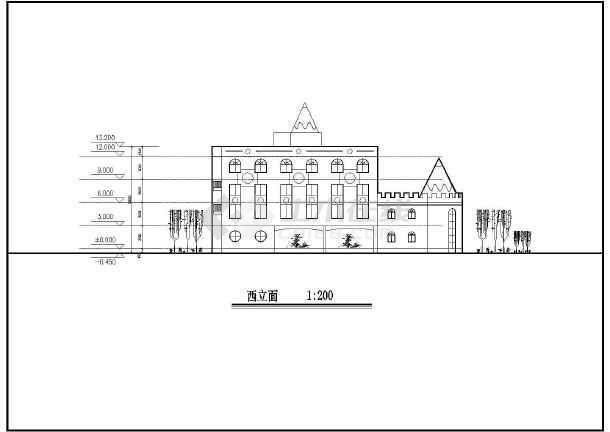 欧式卡通城堡四层幼儿园建筑设计图图片2