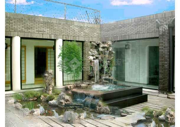 天津某别墅院里的假山水景设计