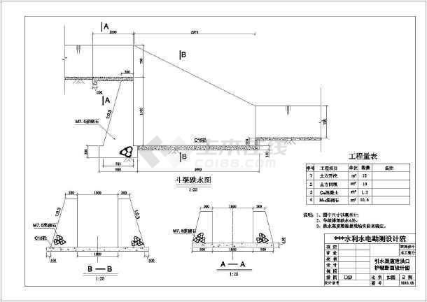 某处跌水定型初步设计方案图,共3张-图1