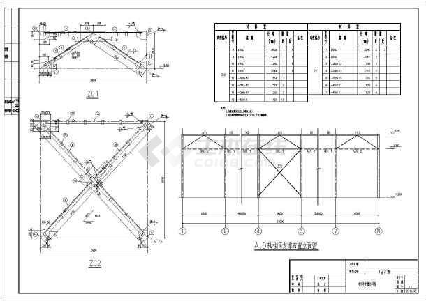 某煤矿单层钢结构车间结构设计施工图