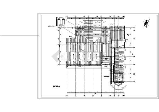 某地单层框架结构欧式会所建筑施工图,图纸包括一层平面图,屋顶平面