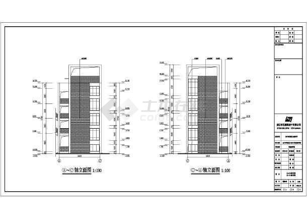 台州市长浦小学4层框架结构教学楼建筑施工图