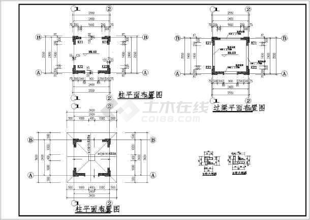 住宅小区欧式门岗房建筑,结构施工图