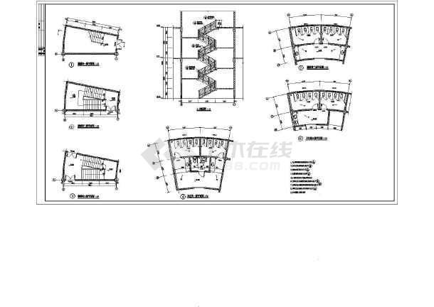 某地3层框架结构仿客家土楼风格办公楼建筑设计施工