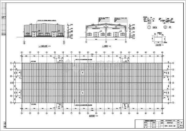 跨16吨行车门刚厂房建筑,结构施工图,包括建筑设计说明,平面图,立面图