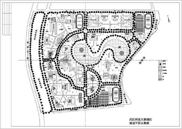 包含总平面图在内,图中各学院,餐厅,运动场均有标注,仅供设计参考.