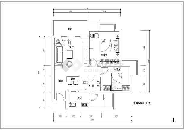 60平米两室一厅装修设计图