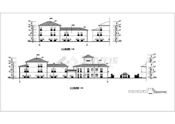 某地两层框架结构临街商铺建筑设计方案图