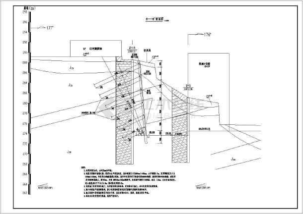 某地锚杆挡墙高切坡结构设计施工图纸
