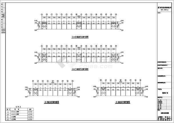 多跨钢结构厂房建筑及结构施工图,图纸包括: 建筑图纸:平面图,立面图