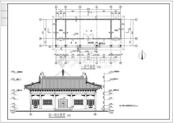 古建小庙建筑设计施工图,带亭子设计,图纸主要包括:,平面布置图,屋顶