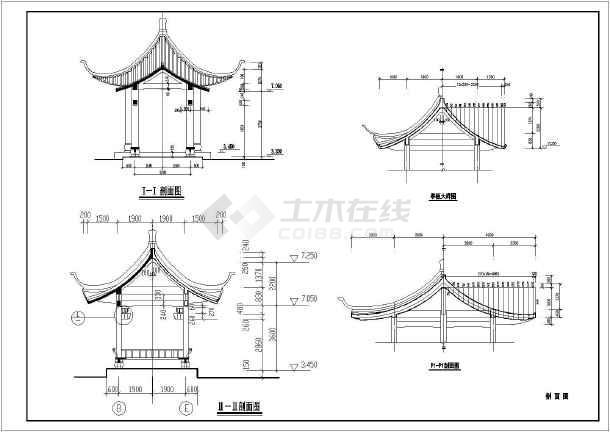 某地区古建筑亭子及走廊结构设计图