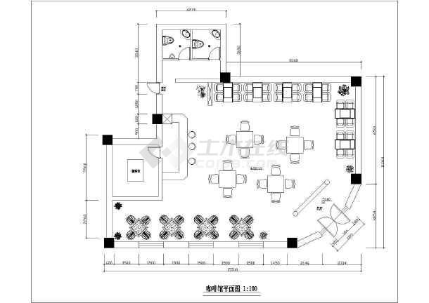 方案咖啡店室内装修设计cad配置小资图cad施工电脑制图2000元图片