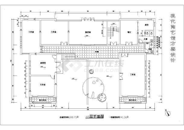 某时尚两层现代化陶艺馆建筑设计图纸(简单实用)图片
