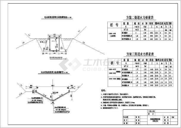 某工程引水渠可研断面电站阶段设计图_cad图cad栏快捷图层图片